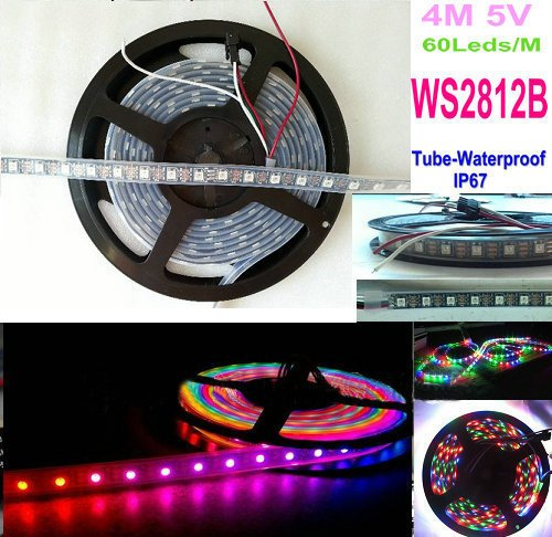 Hkbayi 4M 5V 60Leds/M 240Pixels Programmable Ws2812B Rgb 5050 Led Strip Individually Addressable Dream Color Waterproof Ip67 Pcb Black