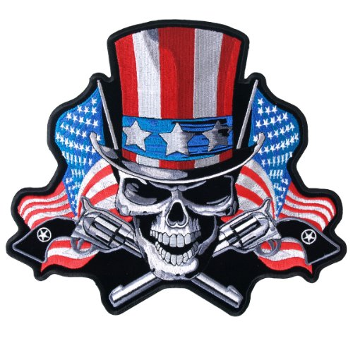 Hot Leathers Uncle Sam Skull Patriotic USA Flag Guns 5