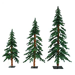 3 ft., 4 ft., 5 ft. Artificial Christmas Tree Set - Classic PVC Tips - Timberline Alpine - Pre-Lit with Clear Mini Lights - Barcana 71-205-345-01 - 3 Pack