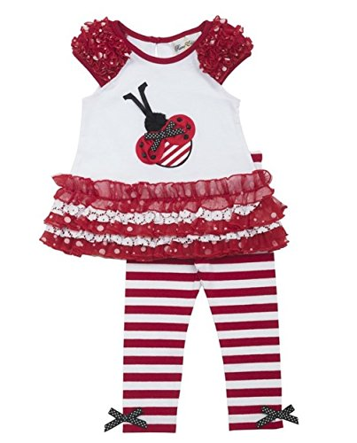 Baby Girl Red Tier Lace Mesh Ladybug Knit Dress/Legging Set