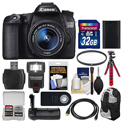Canon EOS 70D Digital SLR Camera  &  EF-S 18-55mm IS STM Lens with 32GB Card + Backpack + Flash + Battery + Grip + Flex Tripod + Kit