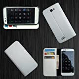 i KitPit   PU Leather Wallet Flip Case Cover For Karbonn A50 (WHITE) available at Amazon for Rs.479