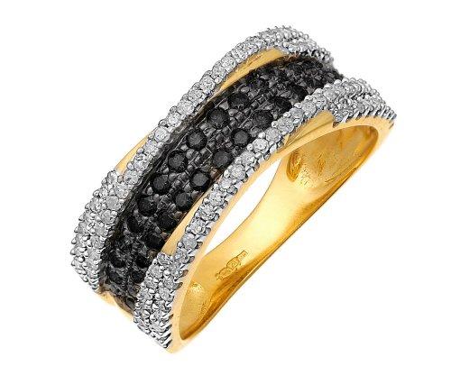 9ct Yellow Gold Black Diamond Multi Row Eternity Ring