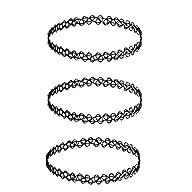 3 x Choker Necklaces Black Gothic Str…
