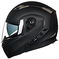 ILM Bluetooth Modular Flip up Full Face Motorcycle Helmet Sun Shield Mp3 Intercom (L, MATTE BLACK) by ILM