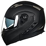 ILM Bluetooth Modular Flip up Full Face Motorcycle Helmet Sun Shield Mp3 Intercom (L, MATTE BLACK)
