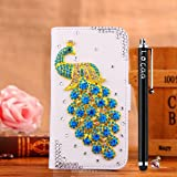 Locaa(TM) LG Optimus L65 LGL65 3D Bling Peacock Case + Phone stylus + Anti-dust ear plug Deluxe Luxury Crystal Pearl Diamond Rhinestone eye-catching Beautiful Leather Retro Support bumper Cover Card Holder Wallet Cases [Peacock Series] White case - Skybl