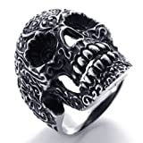 Konov Jewellery Men's Gothic Vintage Stainless Steel Skull Ring, Colour Black Silver, Size Z+3 (with Gift Bag)