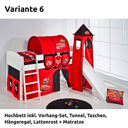 Hochbett Spielbett IDA Disney Cars, mit Turm, Rutsche und Vorhang, weiß, Variante 6 kaufen