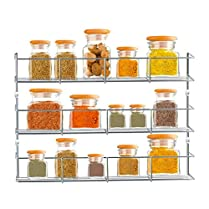 3 Tier Chrome Door Mounted Spice Rack Jar Holder Kitchen Cupboard Wall Storage Shopmonk
