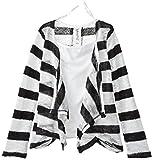 Beautees Big Girls Striped Flyaway Cardigan and Top