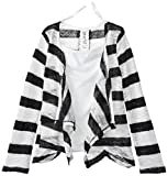 Beautees Big Girls' Striped Flyaway Cardigan and Top
