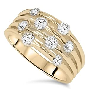 1.00CT Yellow Gold Real Diamond 14K Right Hand Ring