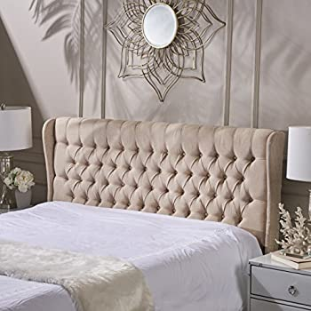 Christopher Knight Home 238911 Morris Queen Tufted Wingback Fabric Headboard, Dark Beige