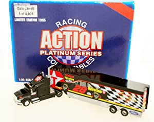 1995 - Action - NASCAR - Platinum Series - Dale Jarrett #28 - Texaco Havoline - Hauler / Transporter - Trailer Rig - 1:96 Scale Die Cast - Rare - 1 of 4,008 - Winston Cup Series - Limited Edition - Collectible