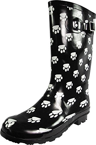 NORTY - Womens Hurricane Wellie Gloss Mid-Calf Paw Printed Rain Boot, Black, White 39203-11B(M)US (Rain Boots Printed compare prices)