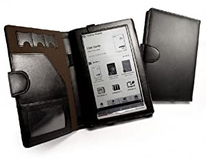 Tuff-Luv Folio Book Style Genuine Leather Case Cover for Sony Reader PRS950 Series/Daily Edition - Black