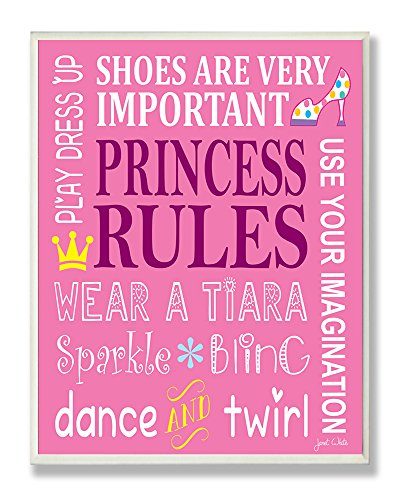 The Kids Room by Stupell Princess Rules Dance and Twirl Rectangle Wall Plaque