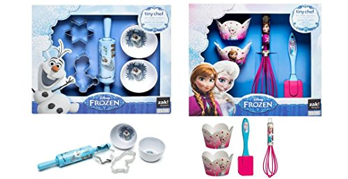 Disney Frozen Real Cupcakes / Cookies Baking Set Bundle - 4 pc Elsa Anna Cupcakes and 5 pc Olaf Cookies Set