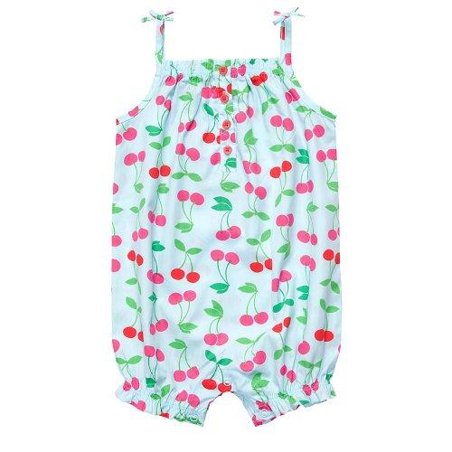 Carters Infant Girls Blue Cherry Print Romper, Newborn