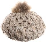 (クーコ)COOCO ラクーンポンポン付きニットビッグベレー帽 24205007