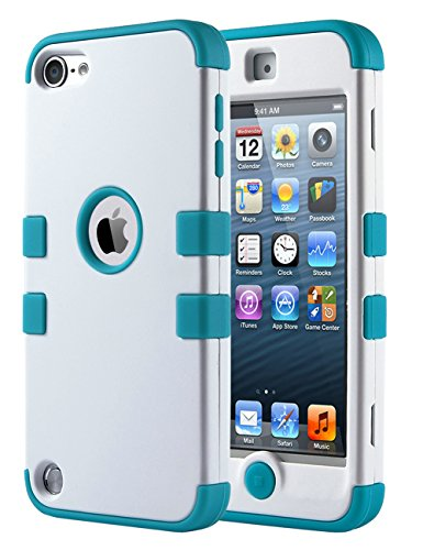 iPod Touch 6 Case,iPod Touch 5 Case ,ULAK 3in1 Anti Slip iPod Touch Case Hybrid with Soft Flexible Inner Silicone Skin Protective Case Cover for Apple iPod Touch 5 6th Generation (White/Blue) (Ipod Cases 5 3in1 compare prices)