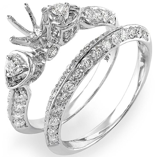 1.20 Carat (Ctw) 14k White Gold Round Diamond 3 Stone Semi Mount Ladies Bridal Engagement Ring Matching Band Set (No Center Stone)