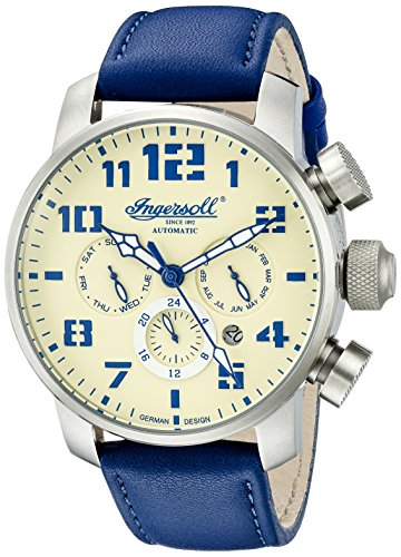 Ingersoll Unisex Automatic Watch with White Dial Analogue Display and Navy Leather Strap IN1224SCR