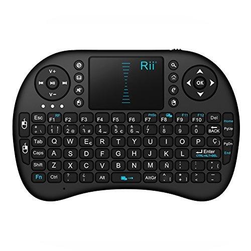 Rii Mini i8 - Teclado ergonómico con touchpad (WiFi 2.4 GHz, USB), color negro