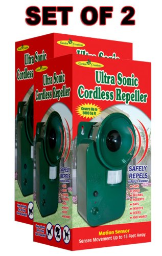 Motion Activated ULTRASONIC PEST ANIMAL REPELLER (Set of 2)
