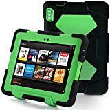ACEGUARDER Military-Duty Series For Amazon Kindle Fire HDX 7'' Rainproof Snowproof Dirtproof Shockproof Cover Case With Stand Designed For Home or Kids Use ,Outdoor Sports, Travel, You will Be Glad To Get The Gifts(Black/Green)?