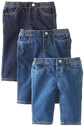 Seven for All Mankind Unisex-Baby Newborn Baby\'s First Year Jeans, Dark/Medium/Light Indigo, Assorted