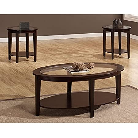 Espresso Wooden Round Glass Top Coffee Table & 2 Piece End Table Set | Perfect Modern 3 Piece Wood Sofa Table with 2 Side Tables Storage Furniture for Your Living Room or Office Space | Bottom Shelves for Storing Books, Magazines and Decorative Accent