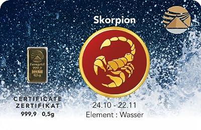 Goldbarren 0,5 g 0,5g Gramm Feingold 999.9 Nadir Gold LBMA Sternzeichen Skorpion