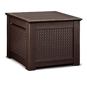 Rubbermaid Patio Chic Outdoor Storage, Cube, Dark Teak Basket Weave (1837303)