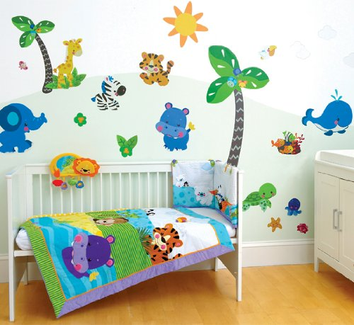 Funtosee, Fisher Price Precious Planets Room Make-over Kit, 60 Giant Peelable Stickers, Bright Colours