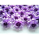 "(100) Silk Purple Roses Flower Head - 1.75"" - Artificial Flowers Heads Fabric Floral Supplies Wholesale Lot for Wedding Flowers Accessories Make Bridal Hair Clips Headbands Dress"