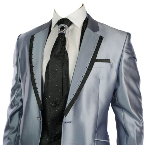 Mens Shiny Slim Fit Wedding Party Suit Blue 4 Piece Black DIamond Lapels