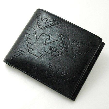 エンポリオ アルマーニ ロゴ 折財布 小銭入付 黒 YEM122 EMPORIO ARMANI 【並行輸入】