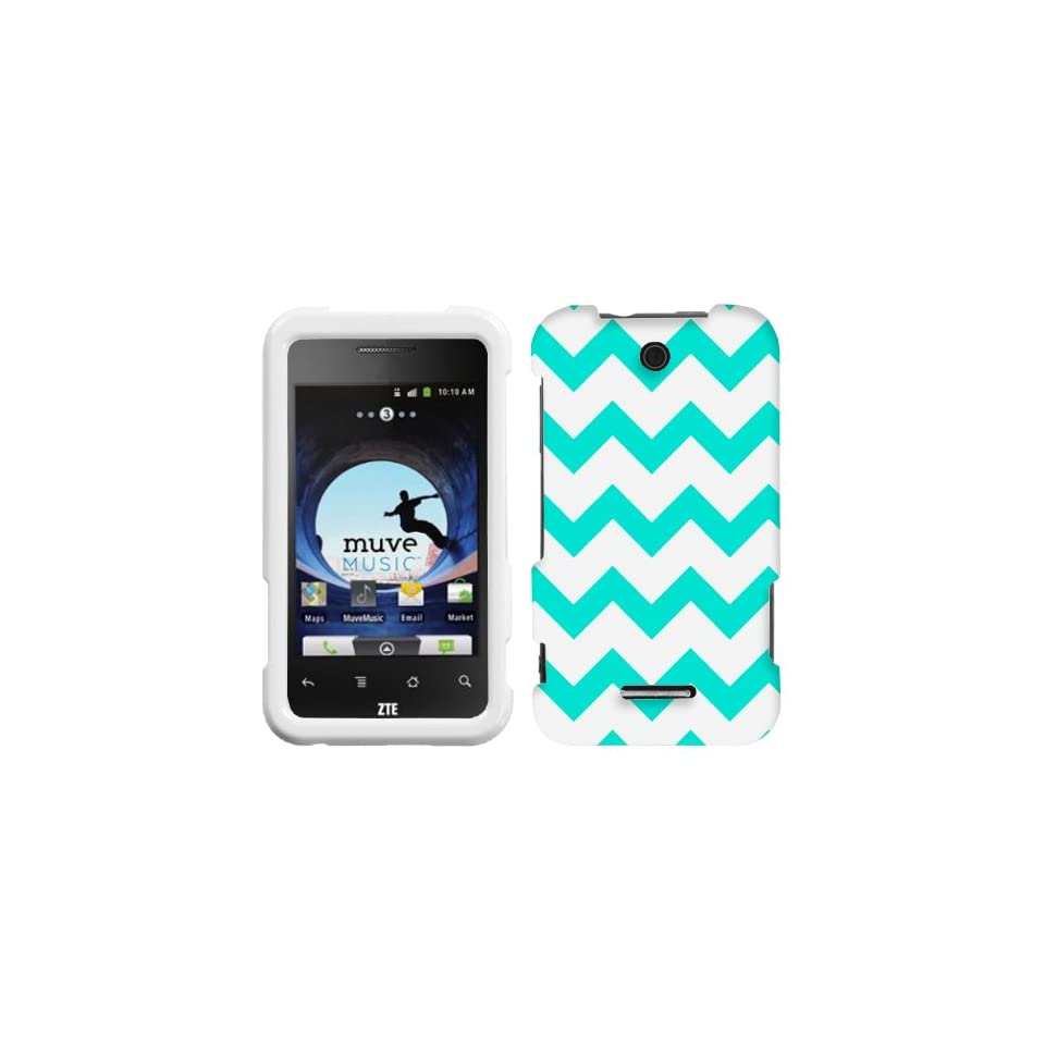 ZTE Score Chevron Turquoise and White Pattern Phone Case Cover Cell Phones & Accessories