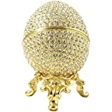 Faberge Style Egg and Box 24k Gold Platted Swarovski Elements Crystal Russian Figurine Trinket Pill Jewelry Box