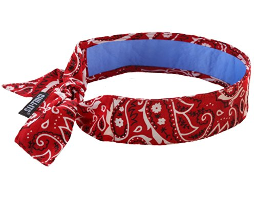 Big Save! Ergodyne Chill-Its 6700CT Evaporative Cooling Bandana with Cooling Towel - Tie, RED