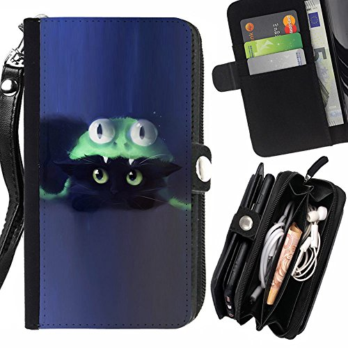 [Generic / Flip Wallet Diary PU Leather Case Cover With Card Slot for LG K10 - Cat Costume Cute Blue] (Kitten Bear Costume)