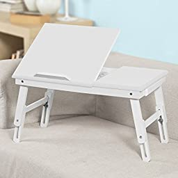 SoBuy Wood Foldable Notebook Laptop Table, Adjustable Height & Angle Folding Food Bed Lap Top Tray Table Desk FBT02-W,White