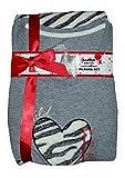 Heart Wild Zebra Print Knit Top Plush Fleece Pants Pajama Sleep Set