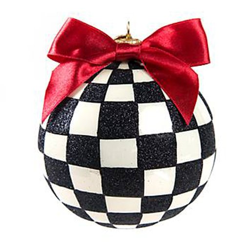MacKenzie-Childs Glass Ornament – Courtly Check Large Ball (3″Dia. x 6″Tall)