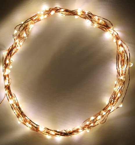 String Lights on Copper Wire by Deneve® - 120 Warm White LED - 20 Feet Long - Strings of Lights - String Outdoor Lights - String Lights Outdoor - LED String Lights - Light String Patio - String Lights Patio - Warm White Lights - Starry String Lights - Exclusive Heavy-Gauge Clear Lead Cord Blends Into Any Setting or Background - Your Purchase Supports Charity - 3-Year 100% Satisfaction Guarantee! picture