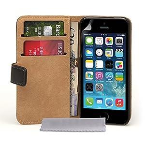 Caseflex Etui portefeuille en cuir véritable pour iPhone5S Noir