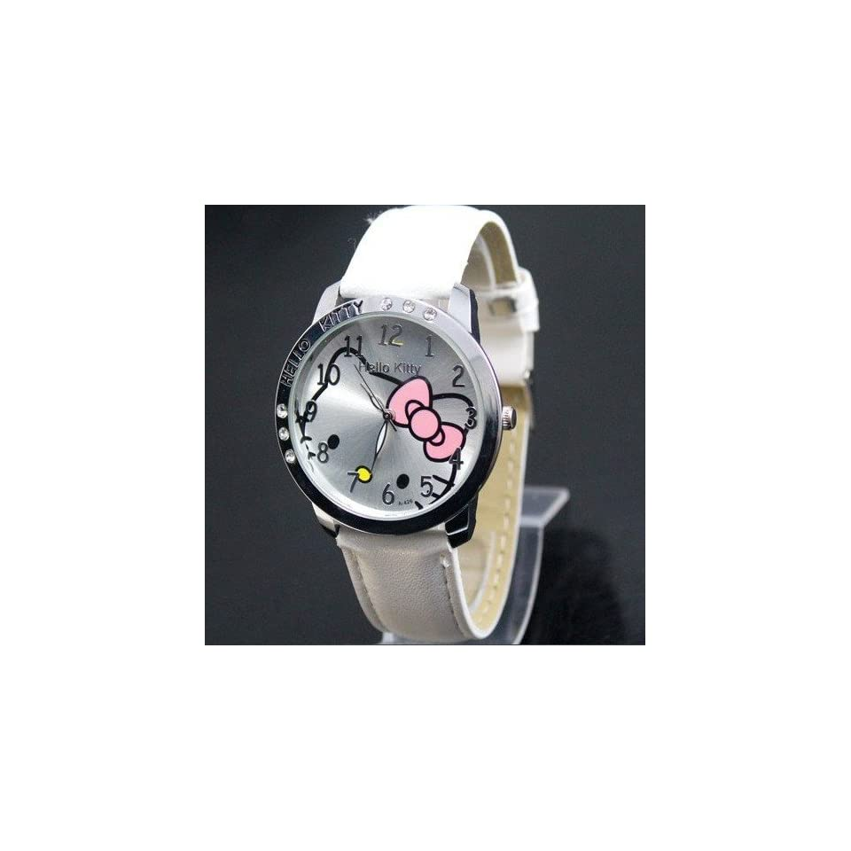 Hello Kitty Large Face Quartz Watch   White Band + Hello Kitty Pouch & Extra Battery