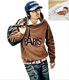 PARIS デザイン アメカジ パーカー / メンズ (茶 ブラウン, L)